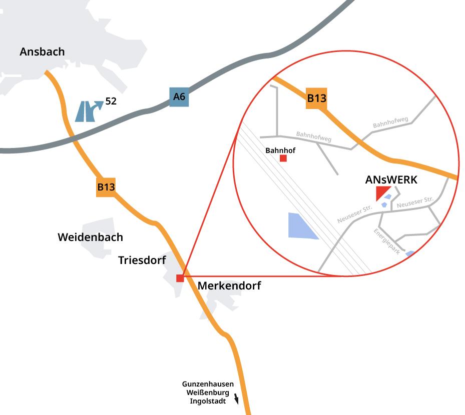 Anfahrt ANsWERK Gründerzentrum im Merkendorf
